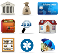 Financial icons - financial products, news and services site.