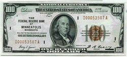 Federal Reserve Banknote, $100, 1929 year. You need only $100,- to start trading binary options.