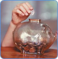 Coins in the glass piggy bank